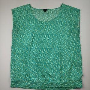 Ann Taylor Sleeveless Top Light Blue w/Green XL